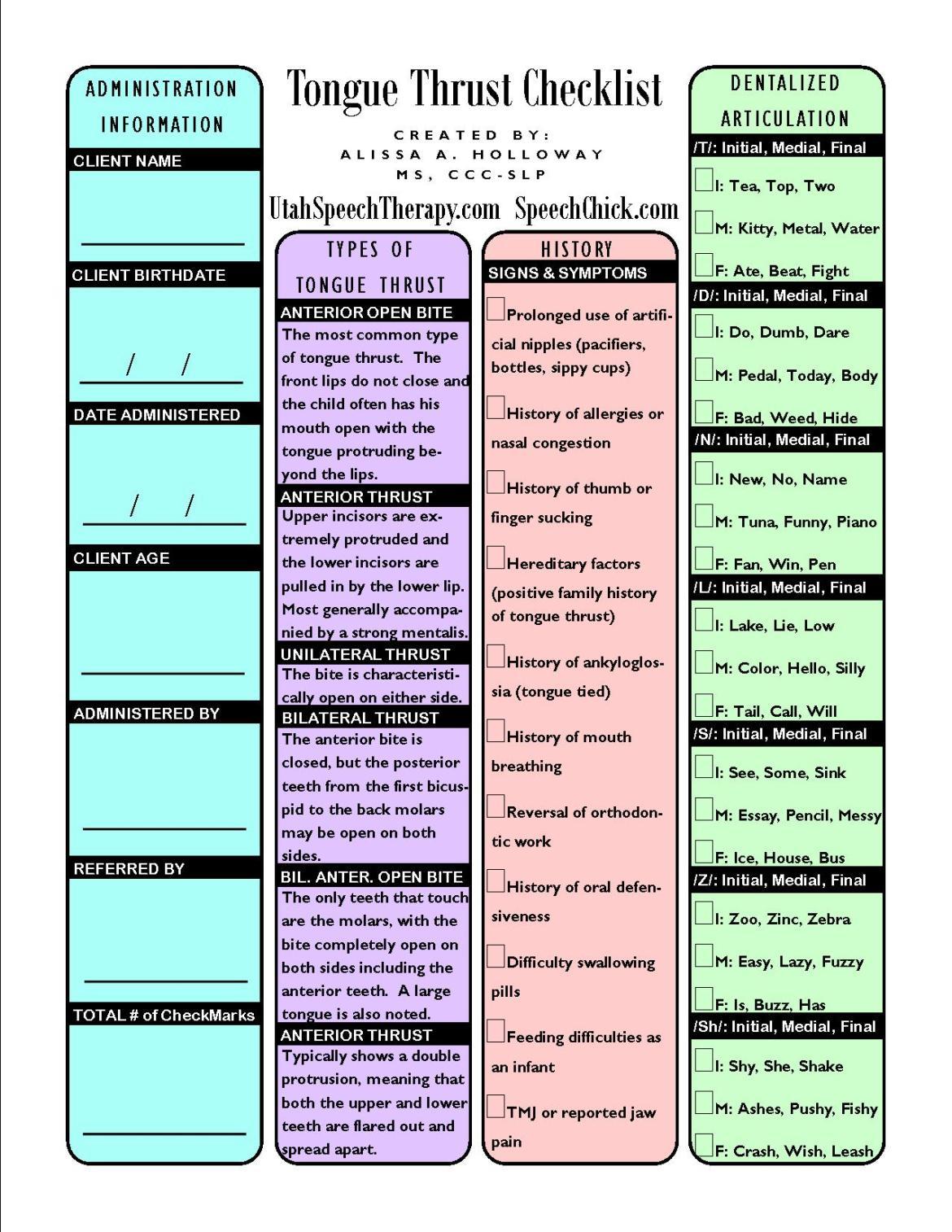 tongue thrust checklist