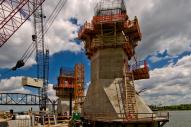 Tower bases under construction at Pier Five of the Ohio River Bridges Project Downtown Span,