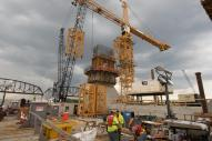 Tower Crane at Pier 5 of Ohio River Bridges Project as the erecting of the tower crane begins. #3