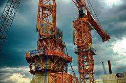 Bridge tower base and tower crane detail. #2
