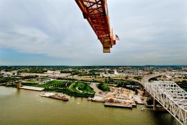 US Flag on tower crane at pier 5 of the Ohio River Bridges Project.