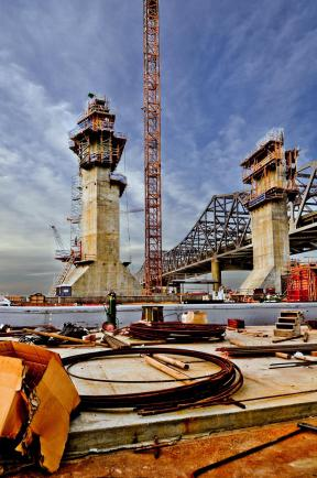 Tower Bases Rising on Pier Four of the Ohio River Bridges Project