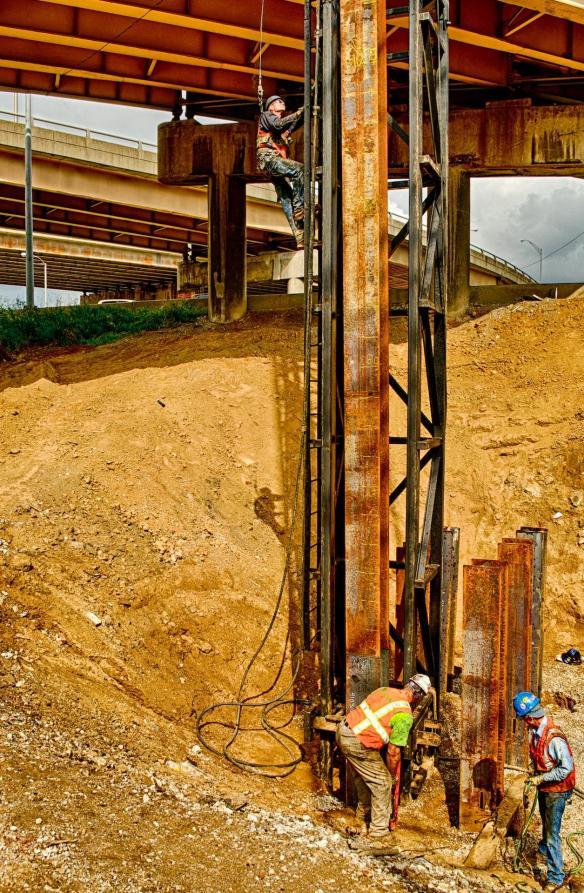 """Pile Driving Crew Positioning the """"Hammer"""""""