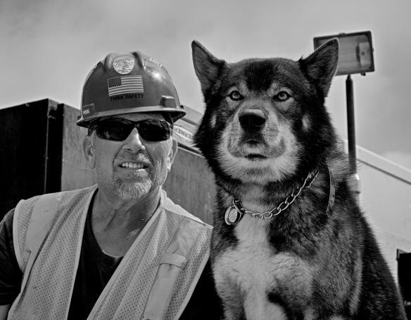 Chris Bixenman and his wolf hybrid Montana.#2 B&W Version
