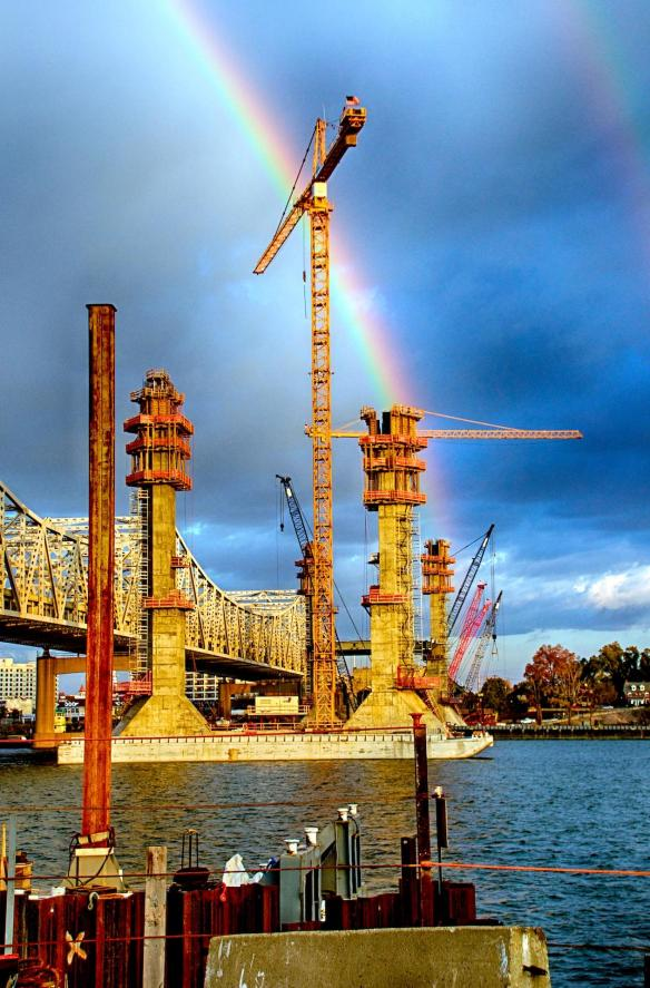 Rainbow over the bridge towers for the Ohio River Bridges Project Downtown Span being built by Walsh Construction in Louisville, Kentucky, November 2014
