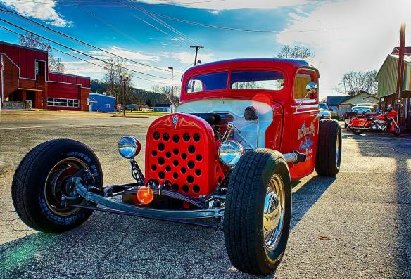 Frank Kaelin's red rat rod truck in HDR.
