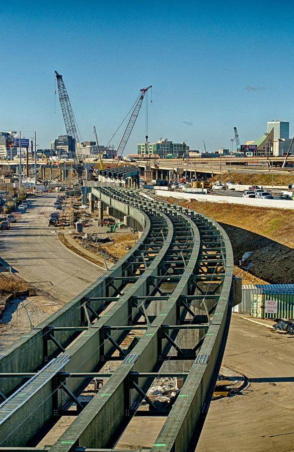 Bridge Girders for Ramp Along Witherspoon Street Looking West Toward Louisville Skyline
