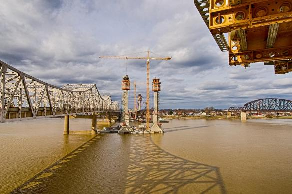 View of Bridge Towers as they rise above the Ohio River in Louisville, Kentucky.