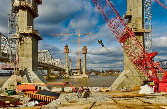 Ohio River Bridge Downtown Span Towers viewed from the Kentucky Approach job site.
