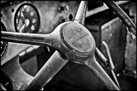 International Harvester Truck Dash and Horn Button processed in NIK HDR Efex Pro 2 followed up by processing in NIK Silver Efex Pro 2.