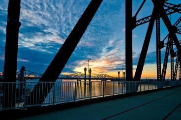 Ohio River Bridges Project at Sunset