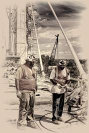 """Journeymen Jason """"Bouncer"""" Wells and Sean Ellery at work on the Downtown Span of the Ohio River Bridges Project in Louisville, KY. B&W Version"""