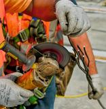Cutting a stay cable for the Downtown Span of the Ohio River Bridges Project in Louisville, KY. HDR Version