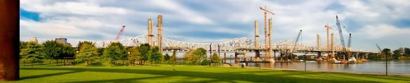 Panorama of The Ohio River Bridges Project Downtown Span at sunup.