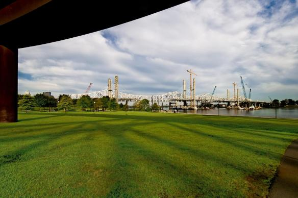 The Ohio River Bridges Project Downtown Span at sunup from Waterfront Park.