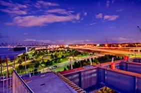 Looking east over Waterfront Park from the Downtown Span at sunset. #2