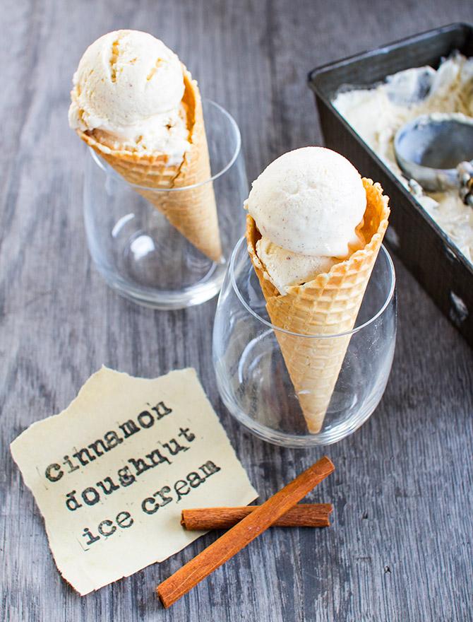 No Churn Cinnamon Doughnut Ice Cream
