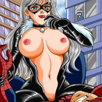 Black Cat, posing for our friendly vicinity Spider-guy with her most erotic face on.