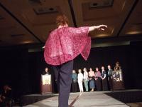 Nancy and her Bluejay shawl in Geisha from BMFA
