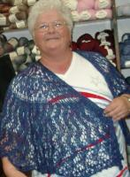 Diana modeling my mother-of-the-groom shawl