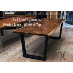 Teal Bases Custom Made X Steel Trapezoid Painted Black On Live Edge Ash Table Table Legs Hardwood Slab Table S Steel Table Legs Perth Steel Table Legs Brisbane