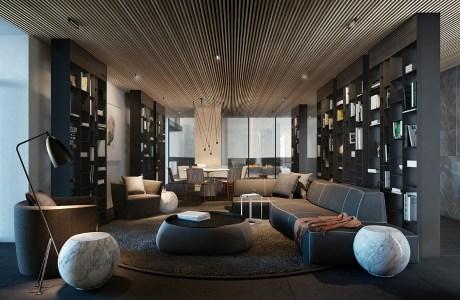 Το ξύλινο ταβάνι μεγαλώνει � ναν χώρο και του προσδίδει ζεστασιά
