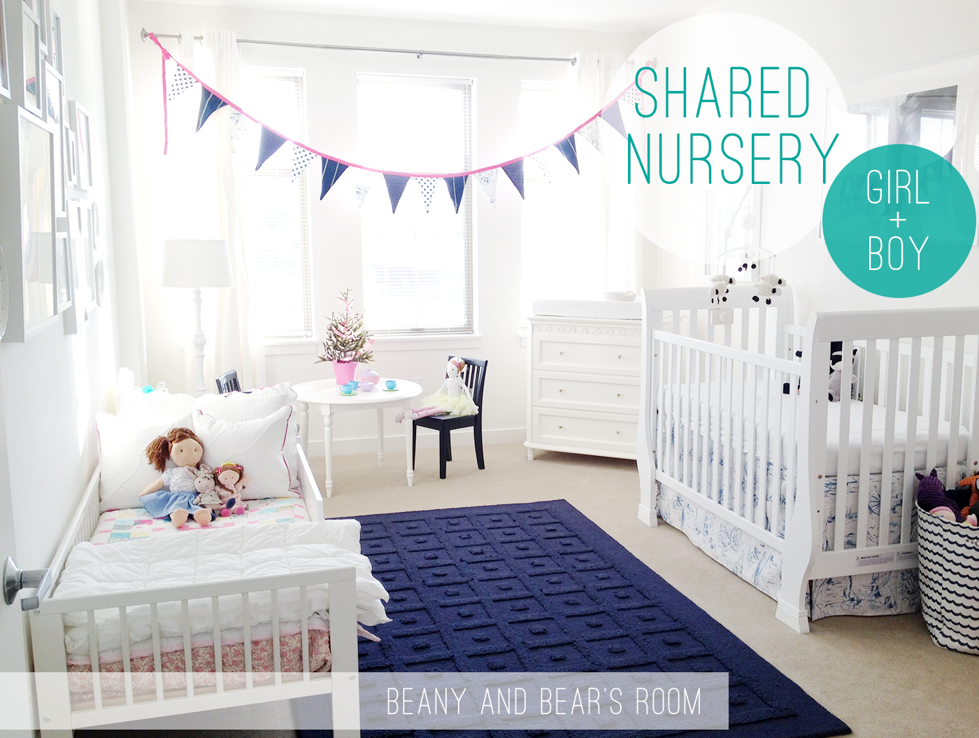 boy and girl shared nursery blue pink happy splash