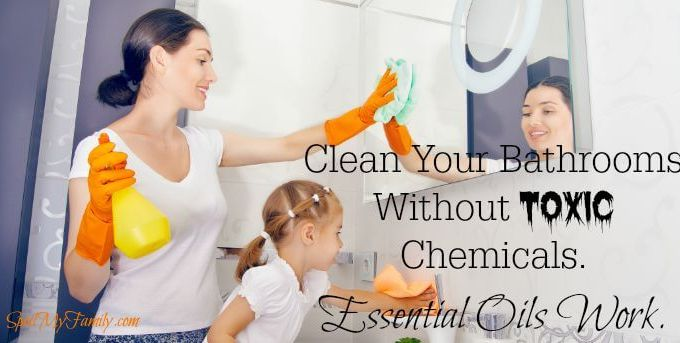Cleaning your bathrooms with essential oils and other things that you likely already have around the house is easier than you think. And it means your bathrooms are clean, fresh smelling, and don't have any toxic chemical lurking around. www.spoilmyfamily.com #greencleaning #cleanbathrooms #toxicchemicals #essentialoils #cleanwithessentialoils