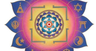 Integral Yoga Interfaith Yantra. Symbols in the petals, clockwise from top: Faiths Still Unknown, Hinduism, Judaism, Shinto, Taoism, Buddhism, Other Known Faiths, Christianity, Islam, Sikhism, Traditional African Faiths, Native American Faiths. Wikipedia image by Satchidananda Ashram Yogaville - Satchidananda Ashram-Yogaville