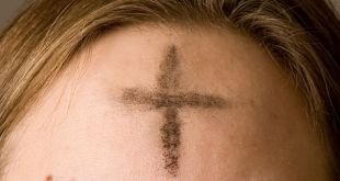 Ashes imposed on the forehead of a Christian on Ash Wednesday. Wikipedia photo by Oxh973