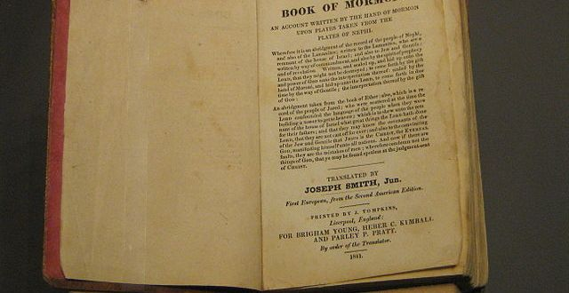A photograph of the 1841 First European (London) edition of the Book of Mormon, at the Springs Preserve museum, Las Vegas, Nevada