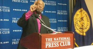 """Episcopal Church Presiding Bishop Michael Curry, speaking to reporters at a news conference at the National Press Club, said the Anglican Communion's recent censure of his denomination was a """"very specific, almost surgical approach"""" to their disagreements over LGBT issues. Religion News Service by Jerome Socolovsky"""
