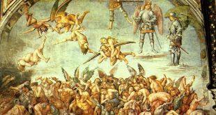 A fresco in the cathedral of Ovieto. This fresco is called The Condemned. It was painted by Luca Signorelli, about 1450.