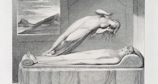 "Robert Blair, ""The Soul hovering over the Body reluctantly parting with Life"" William Blake, via Wikimedia Commons"