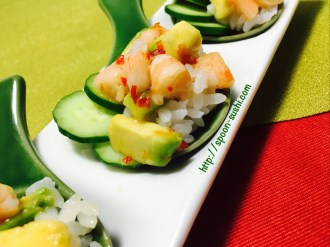 Shrimp with Avocado and Cucumber and Sweet Chili SpoonSushi!3
