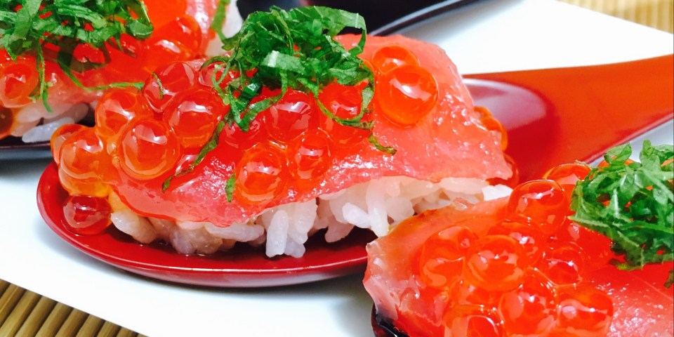 MAGURO with IKURA and SHISO Leaves SpoonSushi!