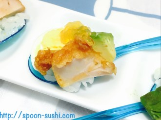 Fried Chicken with Boiled Eggs, Avocado and Consomme Jelly SpoonSushi!5
