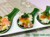 MAGURO with Avocado, Cucumber, SHISO Leaves, Mayo and Consomme Jelly SpoonSushi!3
