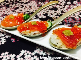 MAGURO, with IKURA, Cucumber, Sesame and WASABI SpoonSushi!2