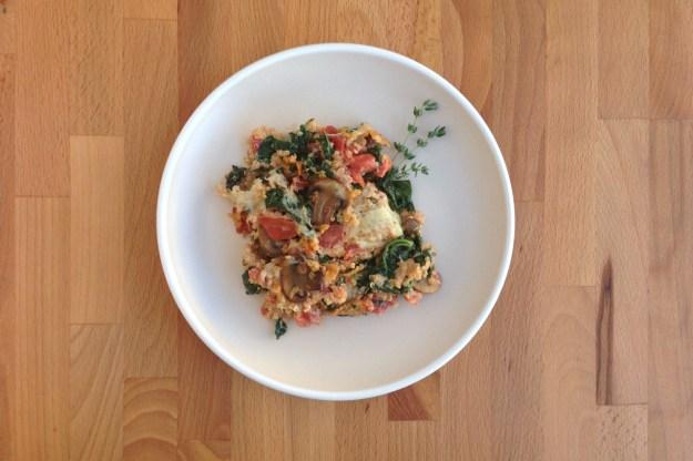 cremini & kale quinoa skillet