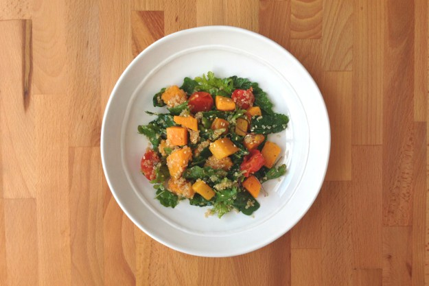 wilted kale & quinoa salad / roasted butternut squash & tomato / miso dressing