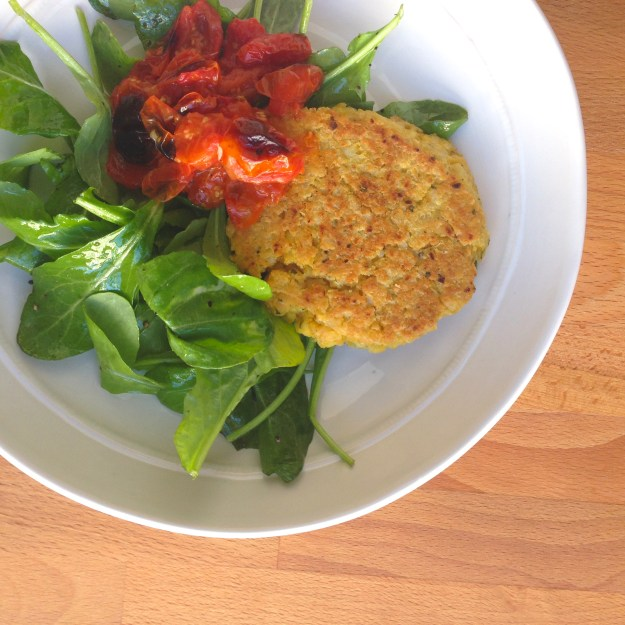 Rosemary Chickpea Patties.  Lemon-Roasted Tomatoes.  Arugula Salad