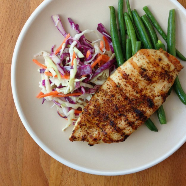 spicy chicken / creamy coconut slaw / foil packet green beans