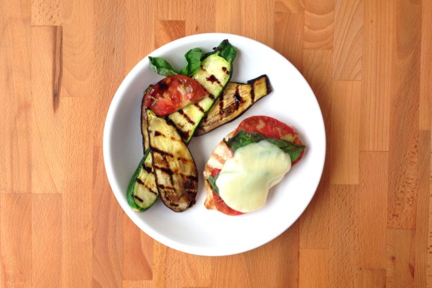 grilled chicken pomodoro / balsamic zucchini & eggplant