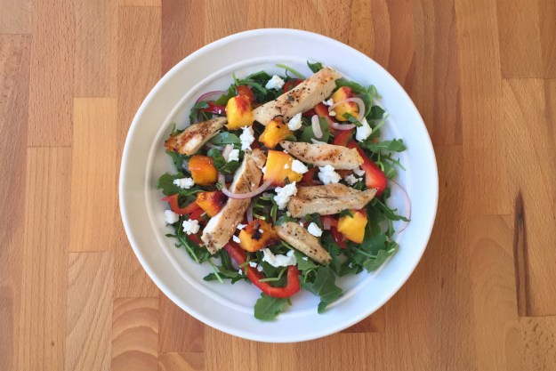 salt & pepper chicken / grilled peach salad with mint, feta & red onion / arugula
