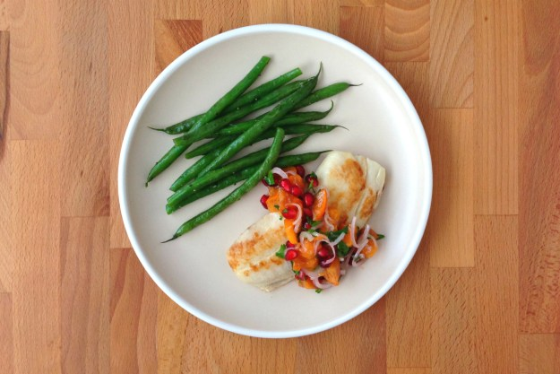 tilapia with a pomegranate-persimmon salsa / green beans with sage butter