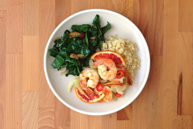 foil packet shrimp with fennel, blood orange & chiles / sautéed chard / quinoa