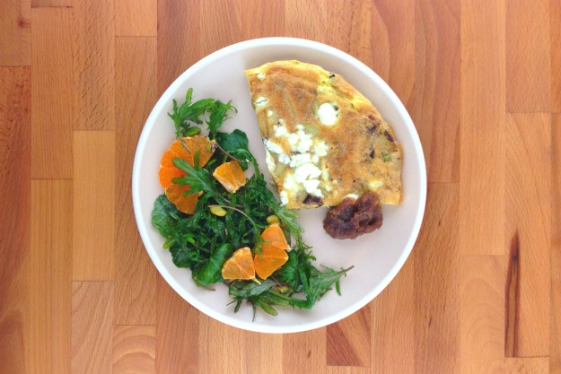 kielbasa / potato, leek & cheddar frittata / smokey date jam / kale salad