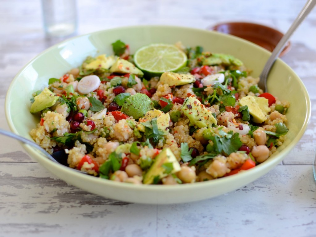 quinoa salad, pomegranate, avocado