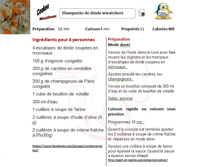 Fiche recettes cookeo blanquette de dinde weight watchers